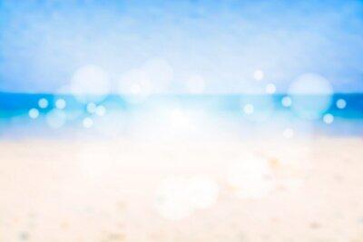 Zamazany błękitny morze z bokeh. Plaża w lecie. Ilustracji wektorowych.