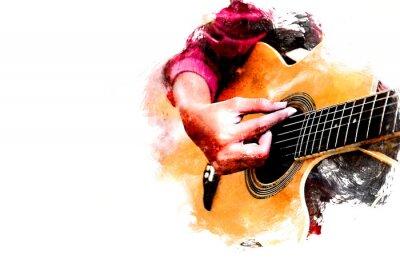 Obraz Zamyka w górę pięknej kobiety bawić się gitarę akustyczną na chodzącej ulicie na akwarela obrazu tle.