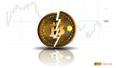 Zapaść waluty cyfrowej, dewaluacja. Symbol awarii bitcoina. Zarejestruj spadek monety. Koncepcja łańcucha łańcucha biznesu.