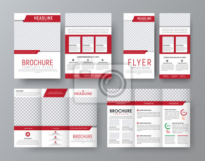 Obraz Zaprojektuj frontową i tylną broszurę składaną, ulotkę A4 i wąską ulotkę z czerwonymi elementami