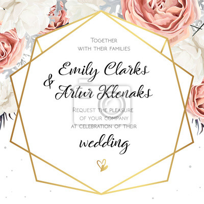 Obraz Zaproszenia ślubne Kwiatowy Wektor Zaproszenie Projekt Karty