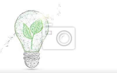 Obraz Żarówka z zielonymi liniami formy, trójkątów i stylem cząstek. Wektor ilustracja