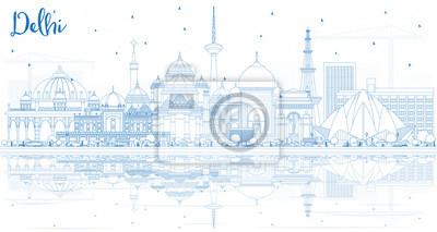 Obraz Zarys Delhi India City Skyline z Blue budynków i refleksji.