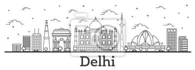 Obraz Zarys Delhi Indie panoramę miasta z zabytkowymi budynkami na białym tle.