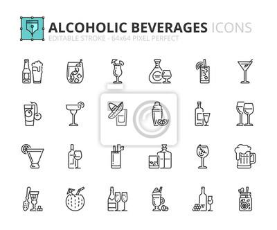 Obraz Zarys ikony o napojach alkoholowych