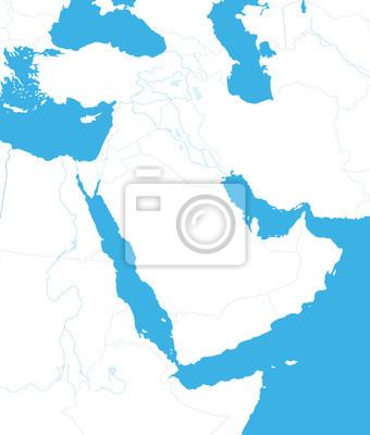 Zarys mapy Bliskiego Wschodu i Azji.