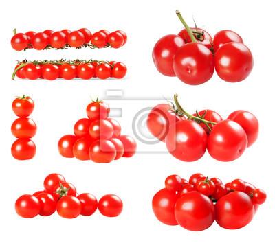 Zbiór pomidorów samodzielnie na białym tle