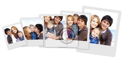 Zdjęcia Kolaż młodej rodziny na plaży w upadku. Zdjęcia w W