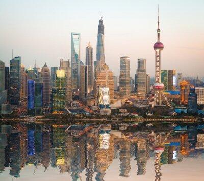 Obraz Zdjęcia lotnicze Shanghai Skyline w nocy