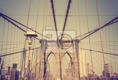 Obraz Zdjęcia w stylu retro vintage z mostu Brooklyn, NYC, USA.