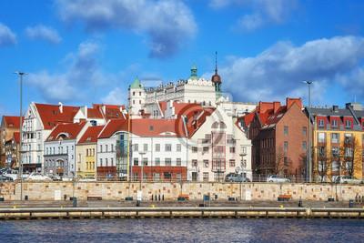 Zdjęcie Szczecin (Stettin) nabrzeżu miasta, widok na bulwar, Polska.