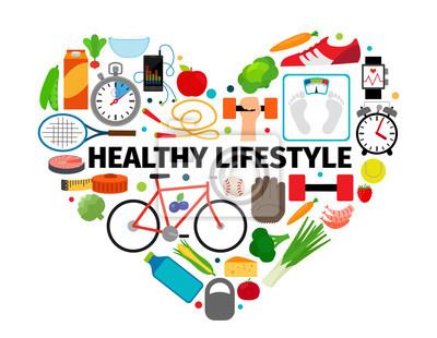 Obraz Zdrowy styl życia symbolem serca. Zdrowie, zdrowa żywność i aktywny codzienne płaskie ikony Wektor transparent samodzielnie na białym tle