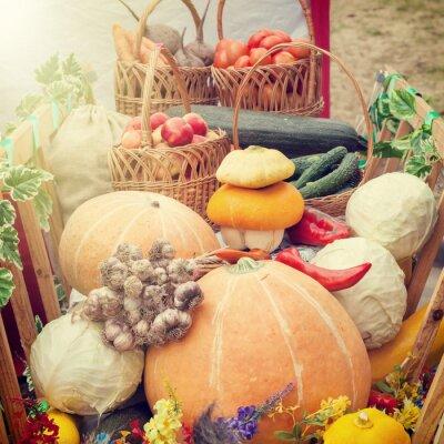 Obraz Zebrane warzywa i owoce w drewnianym koszyku