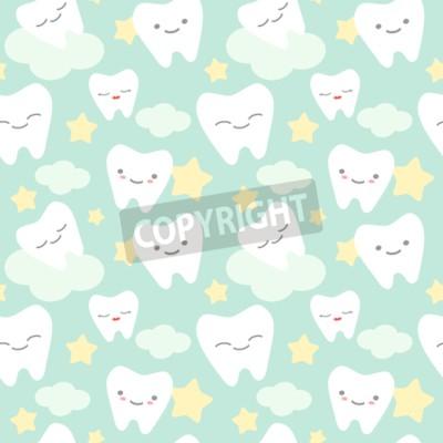 Obraz Zęby kreskówek cute kolorowe bezszwowe tło wzór ilustracji