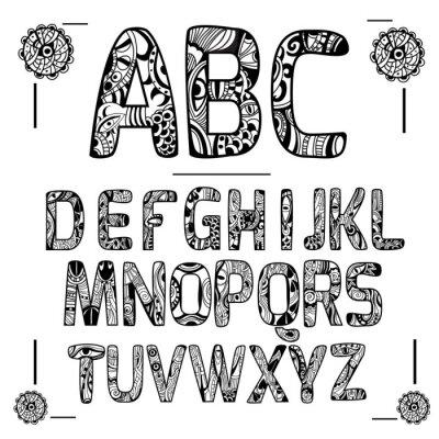 Obraz Zentangle Alfabet Czarny
