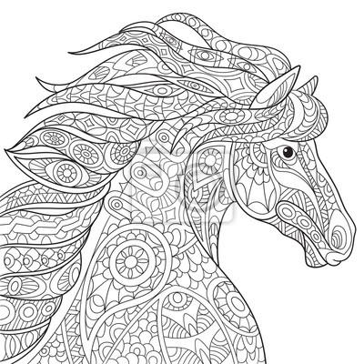 Obraz Zentangle Stylizowane Konia Kreskowki Mustang Na Bialym