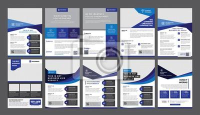 Obraz Zestaw 10 szablonów szablonu ulotki a4, nowoczesny szablon, w kolorze niebieskim i nowoczesnym wzornictwie, idealny do kreatywnych profesjonalnych firm