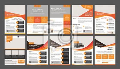 Obraz Zestaw 10 szablonów szablonu ulotki a4, nowoczesny szablon, w kolorze pomarańczowym i żółtym oraz nowoczesny design, idealny do kreatywnego profesjonalnego biznesu
