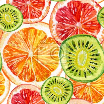Zestaw akwareli świeżych pomarańczy, kiwi i grejpfruta