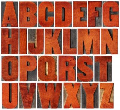 Obraz zestaw alfabetu w rodzaju drewna typografii