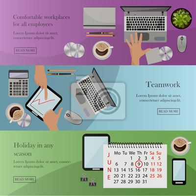 Zestaw banerów biurowych w płaskiej konstrukcji stylu. Rozwój biznesu, finansów, marketingu, koncepcji pracy zespołowej.