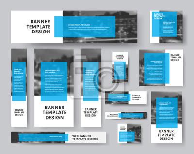 Obraz zestaw banerów wektorowych wszystkich rozmiarów z prostokątną niebieską przezroczystą kostką na tekst i miejscem na zdjęcia.