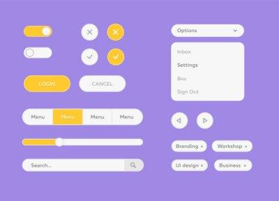 Zestaw biały zestaw UI wektor. Wektorowy płaski projekta ui zestaw dla webdesign. Zestaw do projektowania płaskich zestawów ui do projektowania stron internetowych. Płaskie przyciski, menu, pasek post