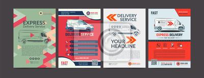 Obraz Zestaw broszura Express Delivery Brochure Flyer szablonu projektu. Szybka dostawa i jakość usług transportowych okładek czasopism, broszura ulotki. Układ w formacie A4. Ilustracji wektorowych.