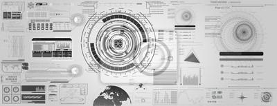 zestaw czarno-białych elementów infographic. Head-up elementy wyświetlające dla sieci i aplikacji. Futurystyczny interfejs użytkownika.