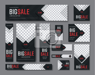 Obraz zestaw czarnych banerów internetowych o standardowych rozmiarach na sprzedaż z miejscem na zdjęcia
