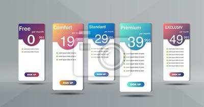 Zestaw czystego cennika. Trzy banery z taryfami. Płaskie internetowe elementy promocyjne.
