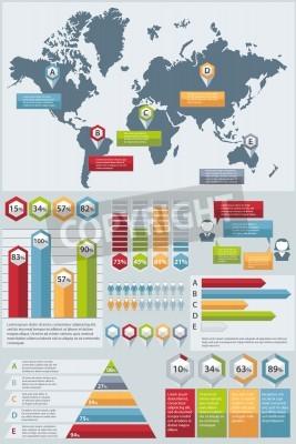 Zestaw elementów Infographic. Mapa świata i grafika informacyjna