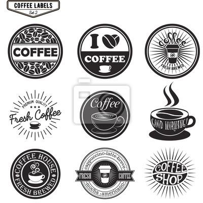 Zestaw etykiet do kawy, elementy projektu, emblematy i odznaki. Izolowane ilustracji wektorowych w stylu vintage