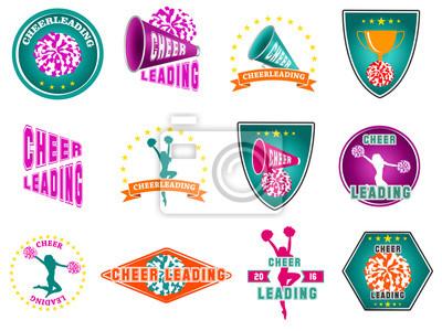 Obraz Zestaw etykiet, logo do cheerleaderek
