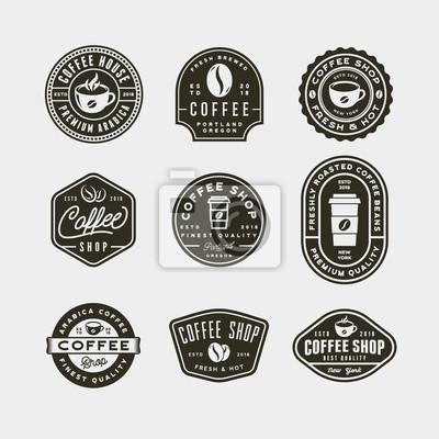 Obraz zestaw etykiet rocznika nowoczesnych kawiarni. ilustracji wektorowych