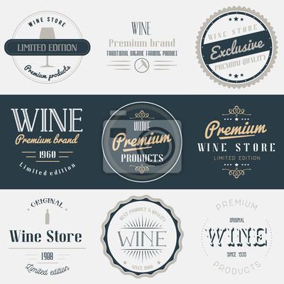 zestaw etykiet wina pić. Marki zaprojektować elementy, symbole, logo, odznaki i naklejki. Ilustracji wektorowych w stylu vintage.