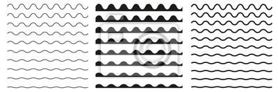 Obraz Zestaw falistych linii poziomych. Element projektu granicy wektorowej