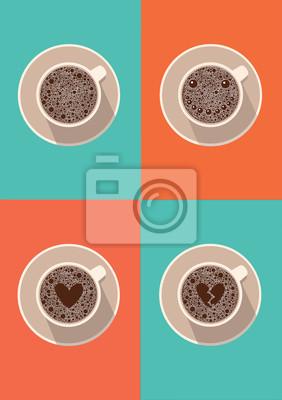 Zestaw filiżanka kawy ikona. Ilustracji wektorowych w płaskiej konstrukcji