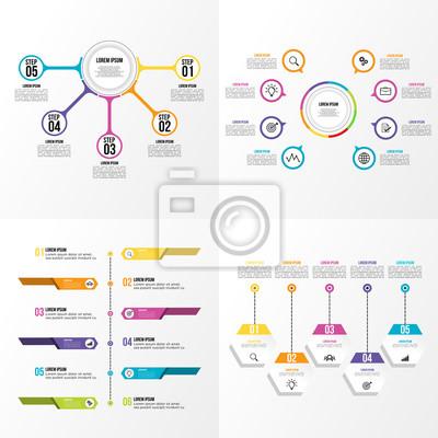 Zestaw firmy infografiki elementy wizualizacji danych szablonu projektu wektor edycji
