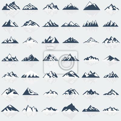 Obraz zestaw ikon Big Mountain. ilustracji wektorowych.