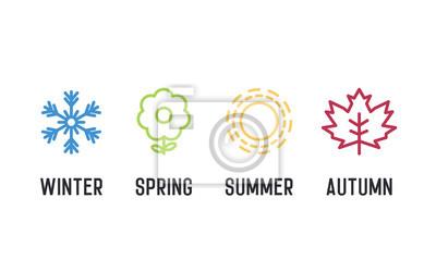 Obraz Zestaw ikon czterech pór roku. 4 Graficzne ilustracje wektorowe przedstawiające zimę, wiosnę, lato, jesień. Płatek śniegu, kwiat, słońce i liść klonu