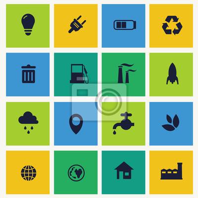 Zestaw ikon dla zielonych technologii.