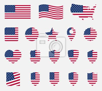 Obraz zestaw ikon flagi usa, narodowy symbol Stanów Zjednoczonych Ameryki