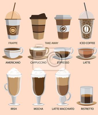 Zestaw ikon kawy. Przyciski dla sieci web i aplikacji. Ilustracji wektorowych.