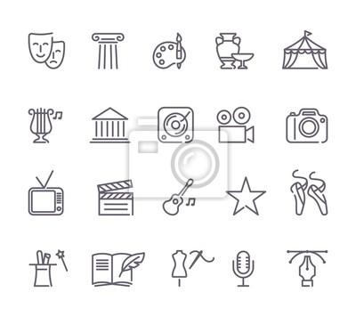 Obraz Zestaw ikon kultury i kreatywnych linii sztuki