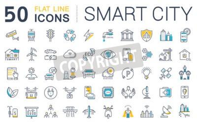 Obraz Zestaw ikon linii wektorowych w płaski projekt inteligentnego miasta i technologii z elementami dla koncepcji mobilnych i aplikacji internetowych. Kolekcja nowoczesny plansza logo i piktogram.