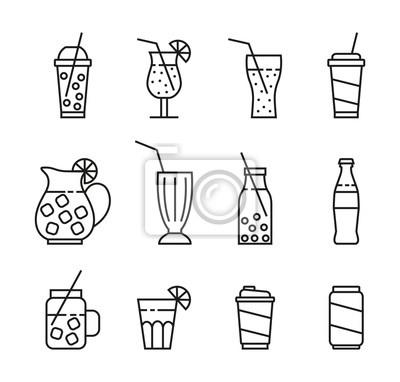 Obraz zestaw ikon napojów