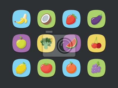 Zestaw ikon owoców wektor