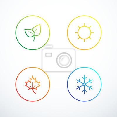 Obraz Zestaw ikon sezonu. Ilustracji wektorowych