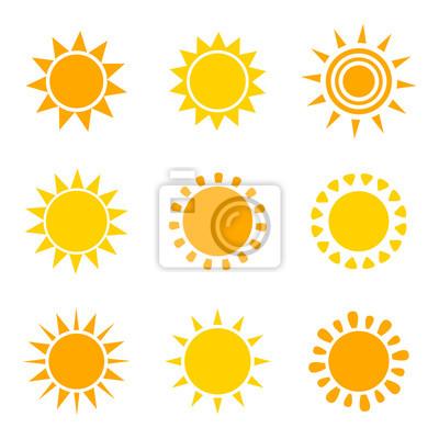 Obraz Zestaw ikon słońce pomarańczowy i żółty
